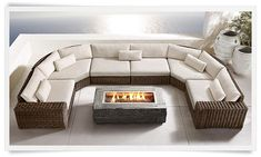 Fire Pit and Urns Garden Fire Pit, Fire Pit Patio, Large Sectional, Modern Sectional, Outdoor Spaces, Outdoor Living, Restoration Hardware Outdoor, Deck Landscaping, Architect Design