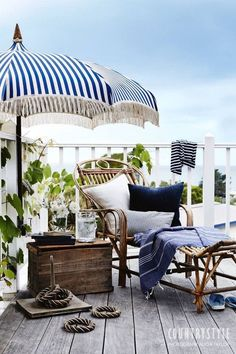 blue and white outdoor decor. Tropics. Nautical. Vintage.