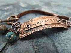 Namaste Bracelet, Etched Metal Bracelet, Etched Jewelry, Boho Bracelet, Hand Stamped Quote Jewelry, Brown Leather, Aqua Terra Gemstones on Etsy, $54.00