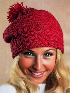 Cap with crossed checkerboard pattern - Knitting and Crochet Easy Knitting Patterns, Knitting Charts, Knitting Socks, Knitted Hats, Free Knitting, Beginner Knit Scarf, Knitting For Beginners, Crochet Winter Hats, Crochet Hats