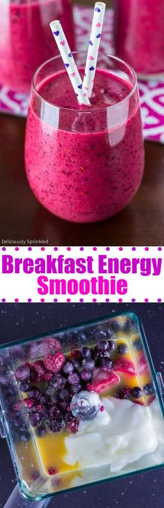 A recipe for a delicious Breakfast Energy Smoothie. This quick and easy smoothie recipe is the perfect way to start your day!
