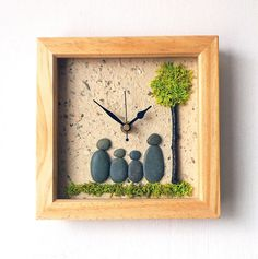 Pebble Art Clock  Pebble Family  Framed Pebble by NaturalClocks