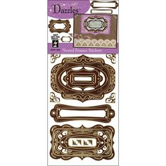 Brown FRAME STICKERS - Vintage Style Frames & Corners Stickers - Frame Stickers - Scrapbook Stickers