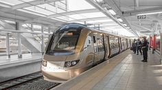 The Gautrain arriving at the airport station