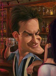 "Caricatura de ""Charlie Sheen"" por Nico Di Mattia"
