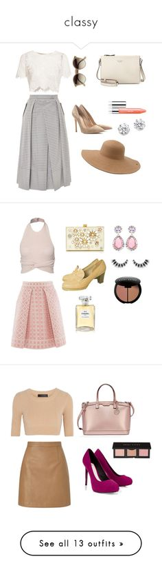 """""""classy"""" by dearmsfairy ❤ liked on Polyvore featuring Lipsy, Calvin Klein Collection, Bobbi Brown Cosmetics, Henri Bendel, Alice McCall, Whistles, Monique Lhuillier, Kate Spade, Chanel and Tiffany & Co."""