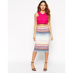 ASOS Scuba Midi Pencil Skirt In Multicoloured Stripe featuring polyvore, fashion, clothing, skirts, multi, bodycon pencil skirt, high waisted pencil skirt, midi skirt, knee length pencil skirt and high waisted skirts