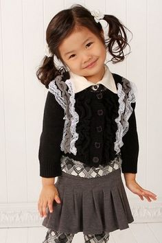 Little Mass Gossip Girl Charcoal Pleated Skirt