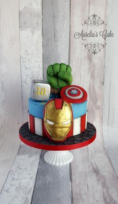 Avengers cake - cake by Aurelia's Cake Avengers Birthday Cakes, Superhero Birthday Cake, 4th Birthday Cakes, Superhero Party, Avenger Cupcakes, Avenger Cake, Pastel Avengers, Marvel Cake, Themed Cakes