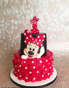 Minnie Mouse cake for baby girl Torta Minnie Mouse, Mini Mouse Cake, Bolo Minnie, Minnie Mouse Birthday Cakes, Mickey Mouse Cake, Minnie Cake, Birthday Cakes Girls Kids, Cake Birthday, Cake Kids