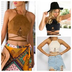 763ca8113f New Women Arrive Faux Suede Halter Cross Hollow Boho Bohemian Bandage Camis Women s  Sexy Bustier Bralet Cropped Top Vest Camis