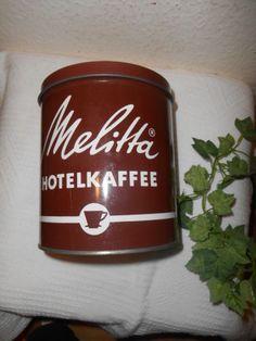 Alte-Melitta-Hotelkaffee-Blechdose-braun-rund-Dachbodenfund