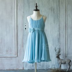 2015 Junior Bridesmaid Dress Spaghetti by RenzRags- IN NAVY BLUE