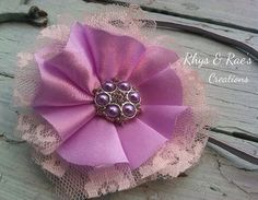 Lavender, Ivory, Satin & Lace Fabric Flower Hair Clip, Headband, Newborn Baby Girl Headband, Bridal Satin, Lace, Flower Garter, Vintage  on Etsy, $16.50