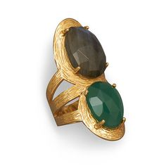 Beautiful 14 Karat Gold Plated Ring with Labradorite and Green Onyx | SilverStones