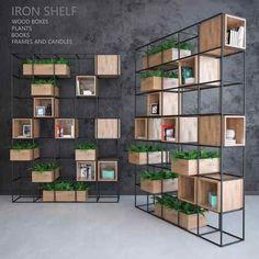 Iron shelf – Home Decoration Office Interior Design, Office Interiors, Iron Furniture, Furniture Design, Wood Furniture Living Room, Regal Design, Iron Shelf, Shelf Design, Bookshelves