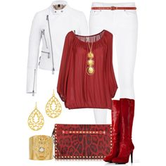 """Lady in the Red Blouse"" by angela-windsor on Polyvore"