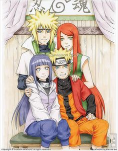 Naruto's parents and Hinata.