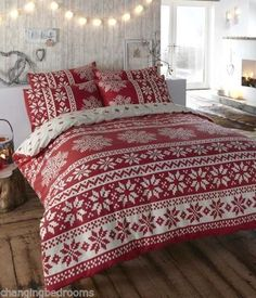 DOUBLE OR KING SIZE WINTERWARM MULTI RED INNSBRUCK NORDIC FLANNELETTE DUVET SET | eBay