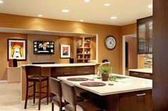 cherry cabinets with painted walls | ... pumpkin-colored walls with dark cherry cabinets in a kitchen recently