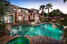 mansions in las vegas | mansion backyard pool a beautiful shot of a mansion in las vegas nv ...