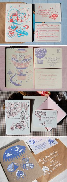 screen printed wedding invites - good alternative to letter press