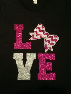 "Custom Glitter ""LOVE"" Chevron and Bow Cheer T-Shirt - Multiple Colors Available"