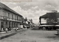 Manila, Philippines, Rosario Street and Binondo Church in the distance, before 1898 Colonial Architecture, Historical Architecture, Philippine Architecture, Intramuros, Time Inc, Spanish Colonial, Pinoy, Old Photos, Manila Philippines