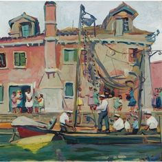 """Venetian Canal Scene,"" Jane Peterson, oil on board, 17.8 x 18"", private collection."