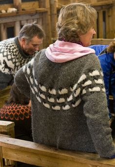 Another Icelandic sweater.  Picture taken by Franklin Habit while in Iceland. Gorgeous.  Since I cannot find this pattern anywhere online, I charted out one of the sheep motifs and hopefully will get this knitted.