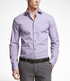 1MX Extra Slim Fit Spread Collar Shirt in Lavender from Express