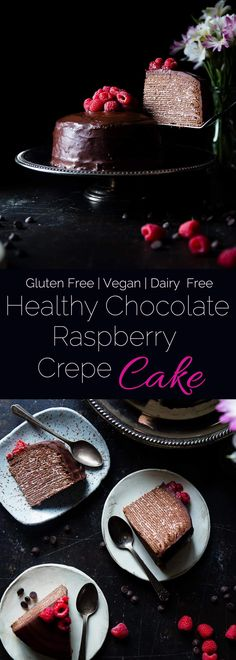 Raspberry Chocolate Vegan Crepe Cake - These crepe cake is made of chocolate crepes layered with raspberries and creamy coconut! It's an impressive healthier, gluten and dairy free dessert that everyone will love! | Foodfaithfitness.com | @FoodFaithFit #Foodfaithfit #Glutenfreedessert #Veganfree #Dairyfree #Dessert #Raspberrychocolatevegancrepecake