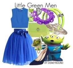 """""""Little Green Men"""" by leslieakay ❤ liked on Polyvore featuring Pinko, Bling Jewelry, Alice + Olivia, Chicwish, Barneys New York, disney and disneybound"""