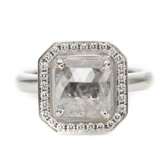 Anne Sportun cushion-cut raw diamond engagement ring, available by special order at Greenwich Jewelers