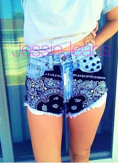 Hey, I found this really awesome Etsy listing at https://www.etsy.com/listing/159778502/high-waisted-shorts-black-bandana-denim