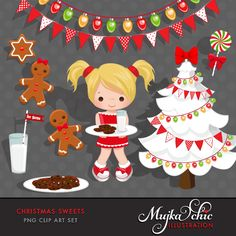 Christmas Sweets Clipart Instant Download Christmas Graphics