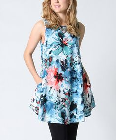 Another great find on #zulily! Blue Floral Sleeveless Swing Tunic by 42POPS #zulilyfinds