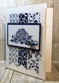 handmade card: DutchTreat - navy and white ... patterned paper banners ... great layout ... Floral Phrases suite ... from BJ's Stampin' Spot