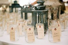 A Family-Focused Wedding in Fort Myers, Florida, Mason Jars with Escort Cards