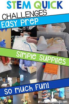 STEM Quick Challenges- each has simple and limited supplies, gather them in a container with the students directions card, and then stand back and see what they do! Perfect for substitute days or a day your students have earned a reward! Science Topics, Stem Science, Science Lessons, Science Fair, Elementary Science, Elementary Library, Physical Science, Steam Activities, Science Activities
