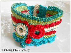Urban Aqua Blue & Red Beaded Statement Cuff Crochet Bracelet   Flickr - Photo Sharing!