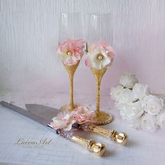Wedding Champagne Flutes Wedding Champagne Glasses Toasting Flutes Gold Blush Wedding - pinned by pin4etsy.com