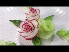 The Zucchini Cactus Rose Flower - Advanced Lesson 16 By Mutita Art Of Fruit And Vegetable Carving - YouTube