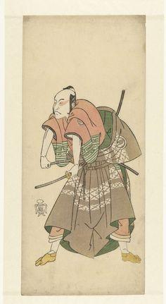 Katsukawa Shunsho   Acteur Sawamura Sojuro II klaar om te vechten, Katsukawa Shunsho, 1763 - 1767   Acteur, de bovenkant van zijn kimono uitgetrokken, zijn twee zwaarden grijpend.