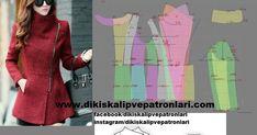 Kışlık palto, manto, hırka, mont yapımı ve kalıpları Fashion Sketches, Unisex, Dress Patterns, Blazer, Stitch, Knitting, Crochet, Womens Fashion, Fitness