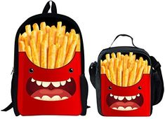 INSTANTARTS Smile Face Cartoon Kids Comfort Shoulder School Backpack Set Book Bag Lunch Tote Picnic Handbag 2 PCS #afflink