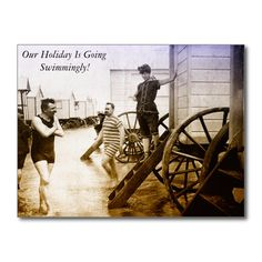 Our Holiday Is Going Swimmingly - Postcard. Having a great time on vacation? Send them this vintage card. Change the text if you wish? http://www.zazzle.com/our_holiday_is_going_swimmingly_postcard-239887454396932994 #travel #holiday #vacation #postcard #swimming #humor #vintage