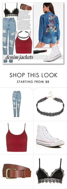 """""""Denim Jackets"""" by stephlv ❤ liked on Polyvore featuring Kimchi Blue, Topshop, Lipsy, Converse, Will Leather Goods, Ermanno Scervino Lingerie, Bare Escentuals and jeanjackets"""