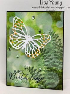 Lisa's lovely bokeh card featuring Butterfly Basics and the Butterflies framelits. Instructions given. All supplies from Stampin' Up!