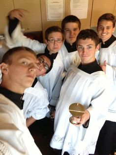 Altar Boys selfie.  I was on pinterest and I randomly found this pin and these are the ones that serve at my church!!!!